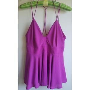 Express purple strappy tank with peek a boo back